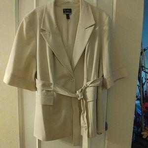 Cream belted blazer